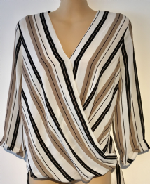 ATMOSPHERE CREAM TAUPE STRIPE WRAP BLOUSE TOP SIZE UK 12